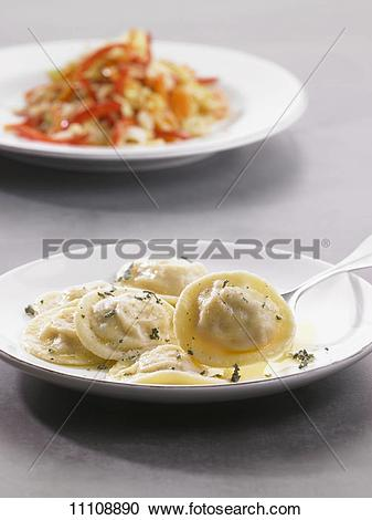 Stock Photography of Prawn ravioli with herb butter 11108890.