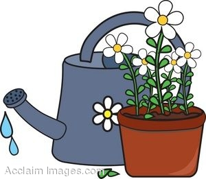Clip Art of Potted Daisies and a Watering Can.