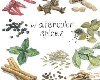 Watercolor Herb Plant Flower Clip Art for by DigitalPressCreation.
