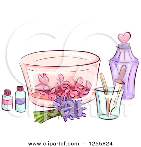 Clipart of a Still Life of Herbal Oils Flowers and Perfume.