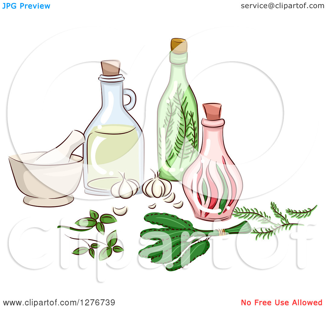 Clipart of Herbal Oils, a Mortar and Pestle and Bottles.