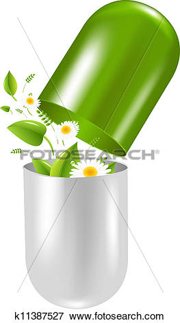 Clip Art of Pill With Herbs And Camomile k11387527.