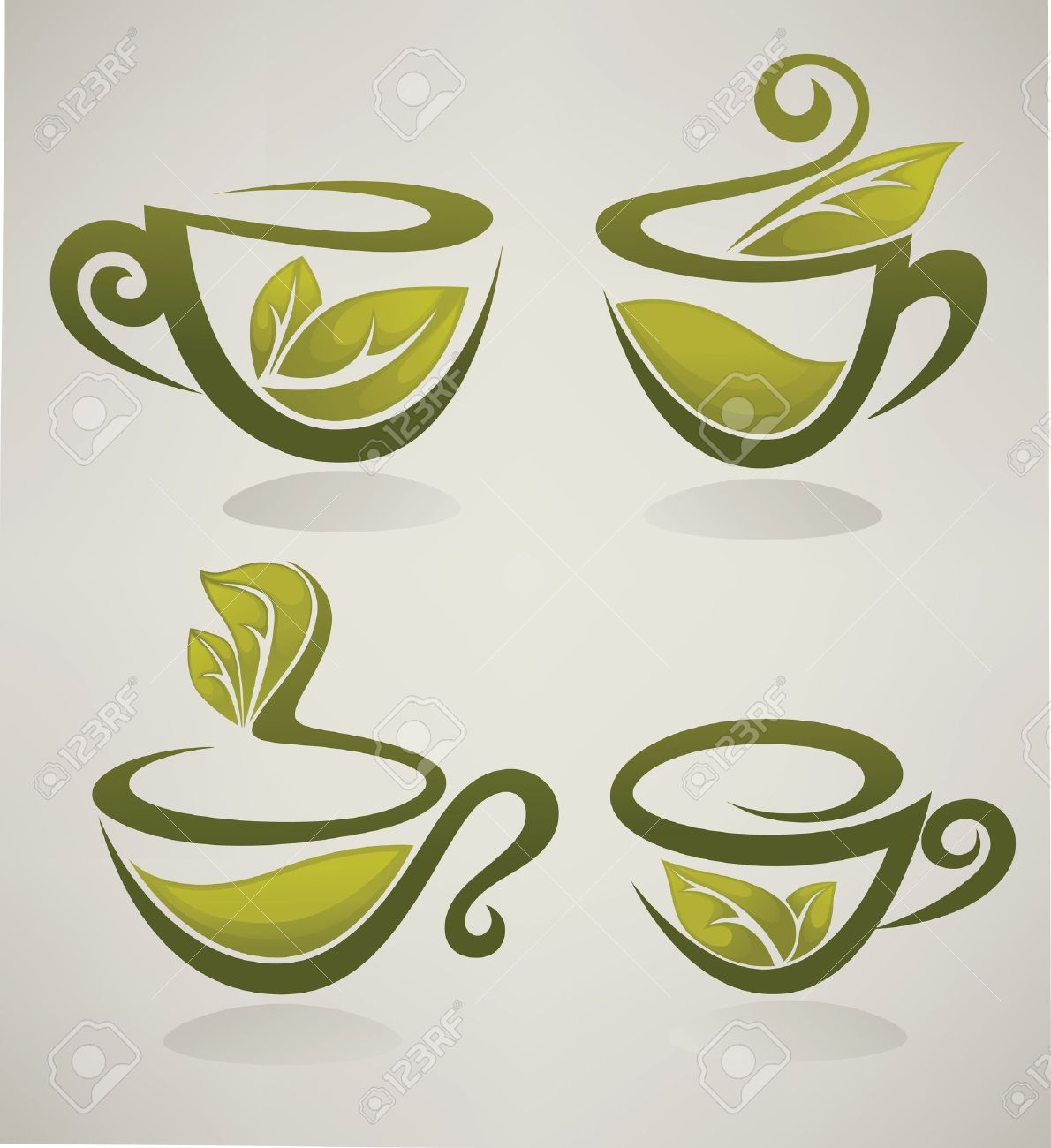 Herbal Tea Collection Of Cups Full Of Organic Drinks Royalty Free.