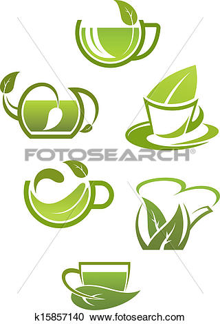 Clipart of Herbal tea cups with green leaves k15857140.