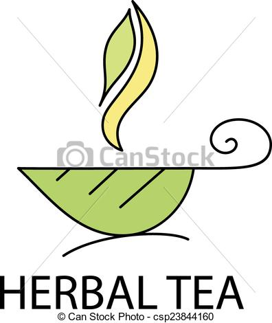 Clip Art Vector of Cup of herbal tea from a leaf with steam.