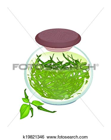 Clip Art of Jar of Pickled Green Chili Peppers with Malt Vinegar.