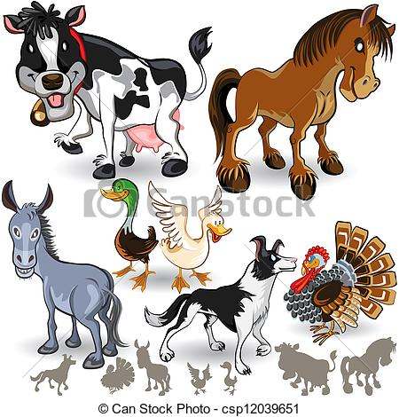 Clipart Vector of Farm Animals Collection Set 02.