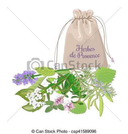 EPS Vectors of Herbes de provence sachet mix. Swatch pouch with.