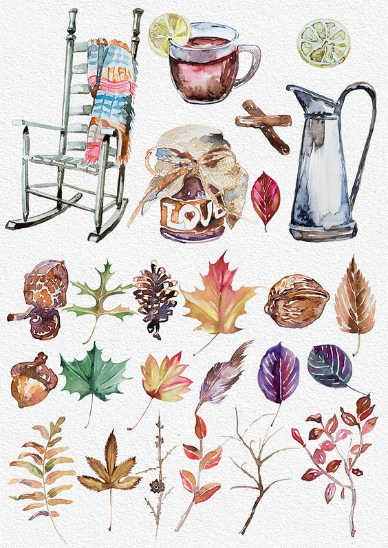 Aquarell Herbst Stimmung Clipart, handgemalte Cliparts, DIY.