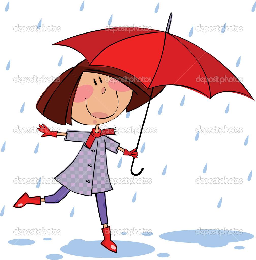 Walk in the rain — Stock Vector © Gorelova #2114552.
