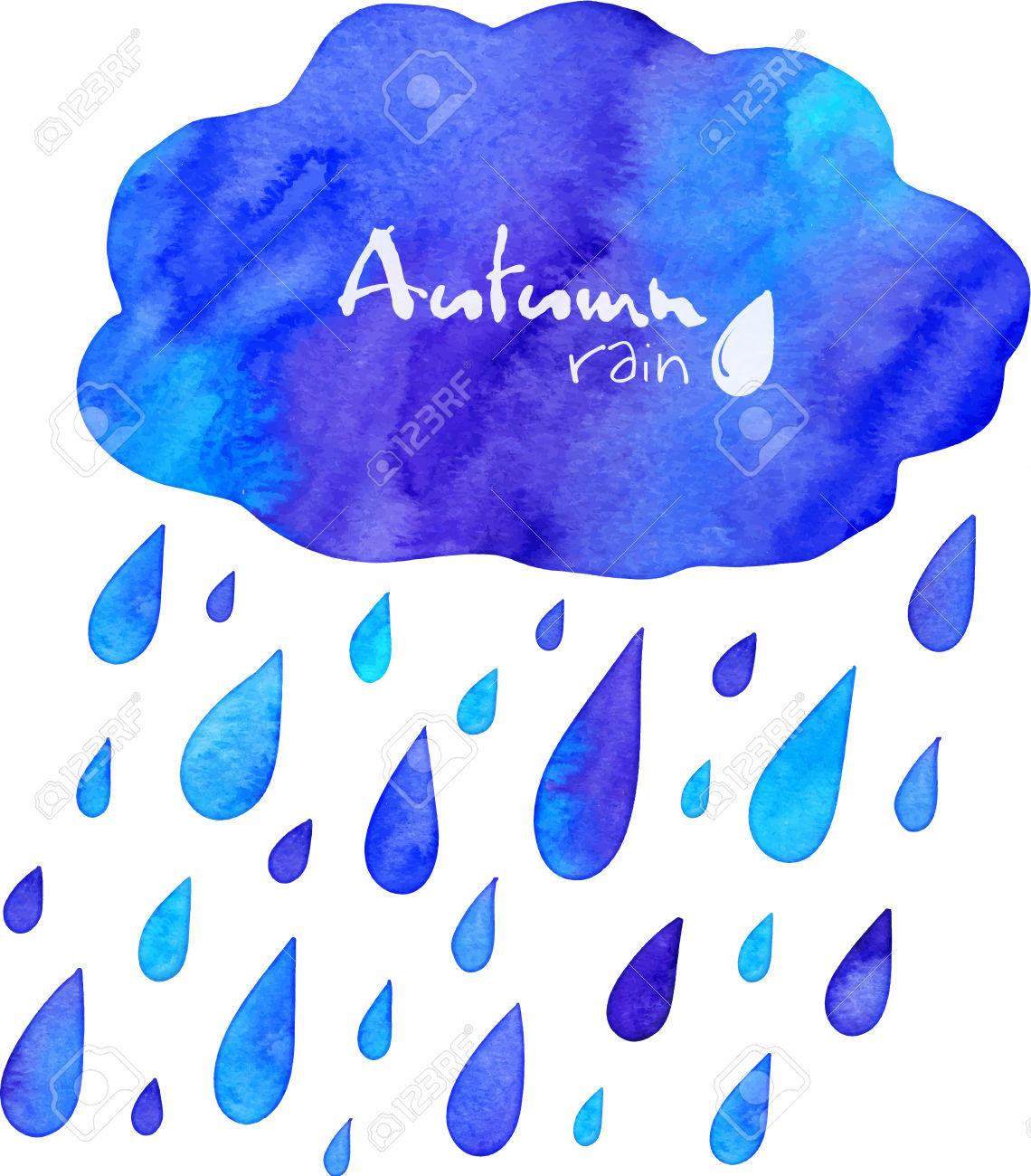 Aquarell Malte Herbst Regen Mit Wolke Lizenzfrei Nutzbare.