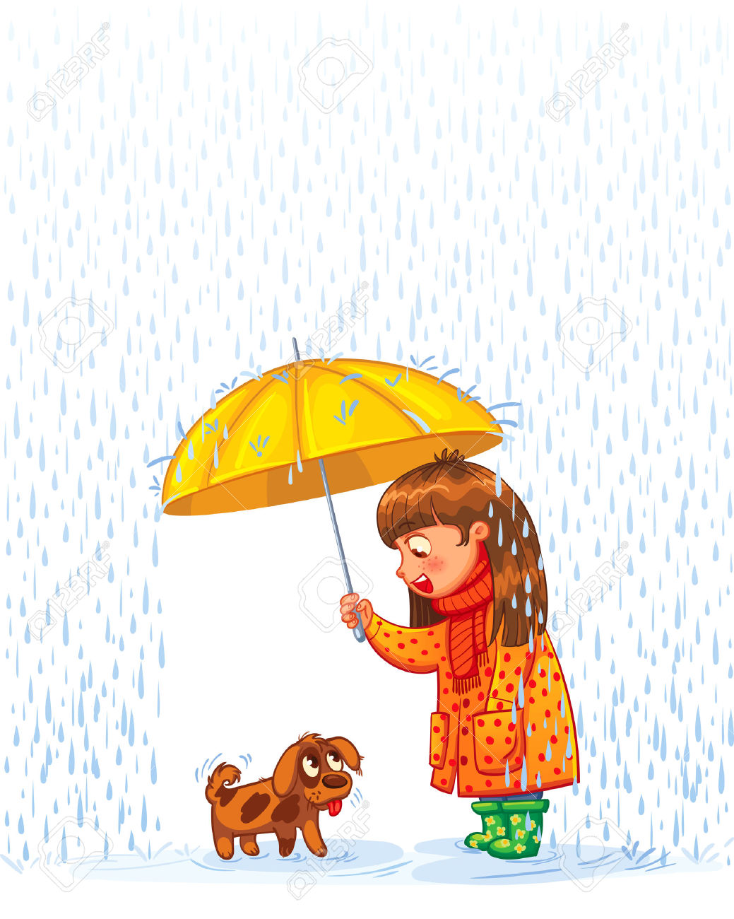 Das Mädchen Unter Einem Dach Mit Einem Kleinen Obdachlosen Welpen.