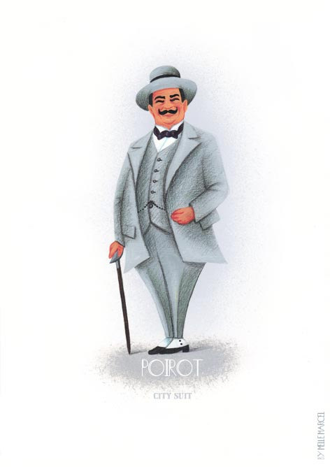 Poster Hercule Poirot Agatha Christie in grey city suit from.
