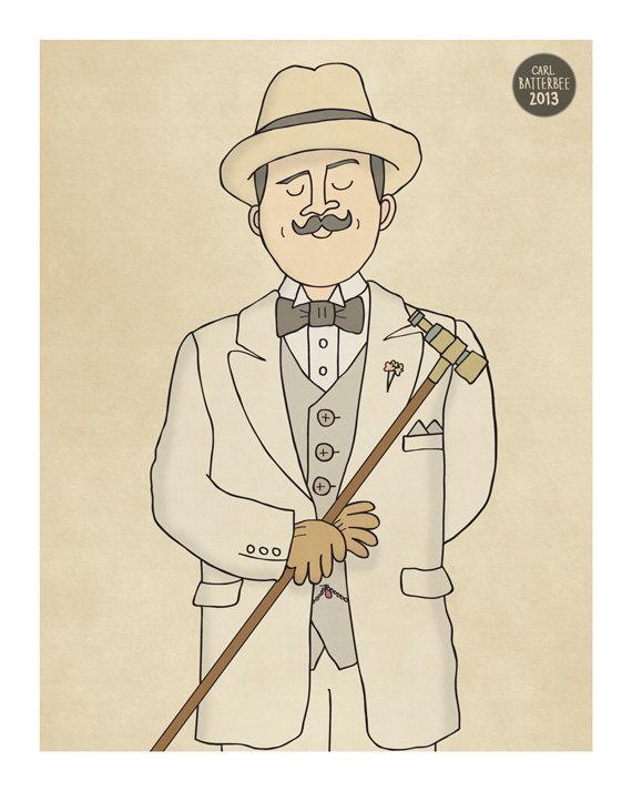 Hercule Poirot Illustration Print by CarlBatterbee on Etsy.