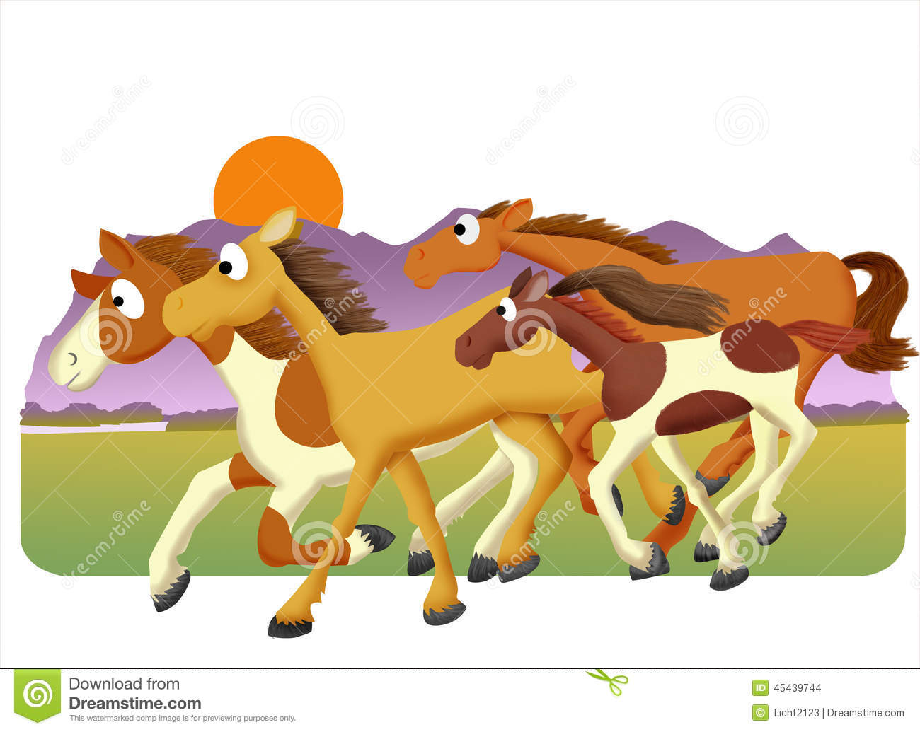 Horse Herd Stock Illustration.