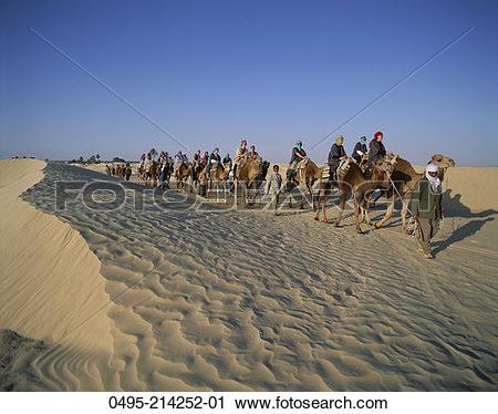 Stock Photography of Tunisa, Sand Dunes, People, Tourists, Tour.