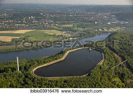 "Stock Images of ""Aerial view, pumped storage plant Koepchenwerk on."