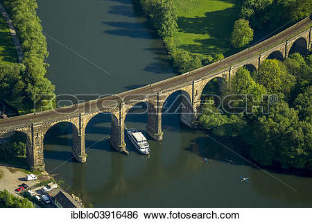 "Stock Images of ""Aerial view, Ruhr viaduct with excursion boat."