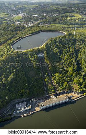 "Stock Photo of ""Aerial view, pumped storage plant Koepchenwerk on."