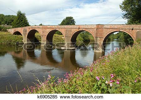 Stock Image of The Bredwardine Bridge over river Wye in.