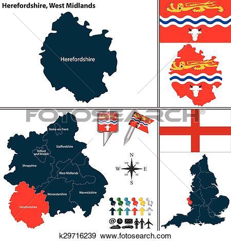 Clip Art of Herefordshire, West Midlands, UK k29716239.
