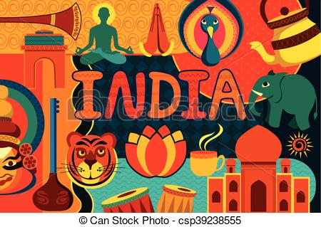 Clipart Vector of Collage displaying rich cultural heritage of.