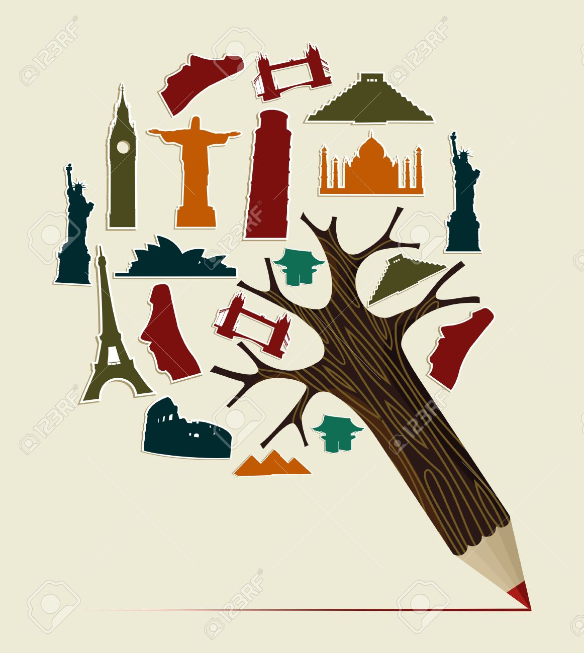 Pencil Tree Shaped Made With World Landmarks Silhouettes Elements.