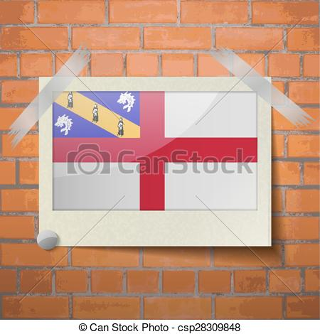 EPS Vector of Flags Herm scotch taped to a red brick wall.