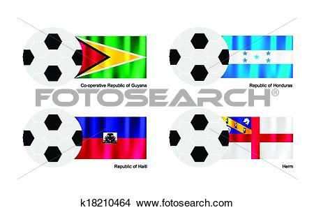 Clipart of Soccer Ball with Guyana, Honduras, Haiti and Herm Flag.