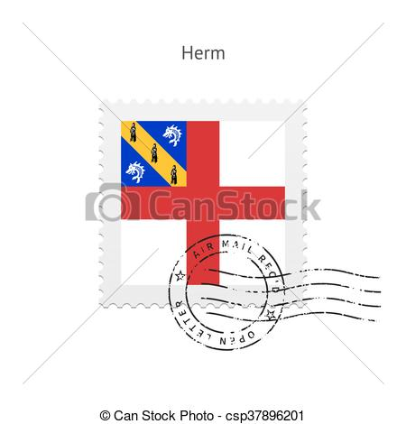 Vector Clipart of Herm Flag Postage Stamp..