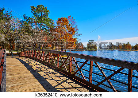Stock Photography of Houston Hermann park Mcgovern lake k36352410.