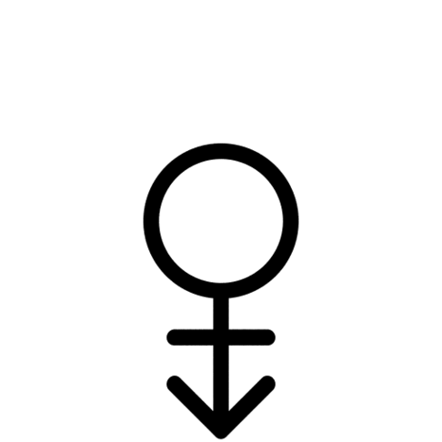 Gender Symbol Hermaphrodite Androgyne Female Appearance Dark.