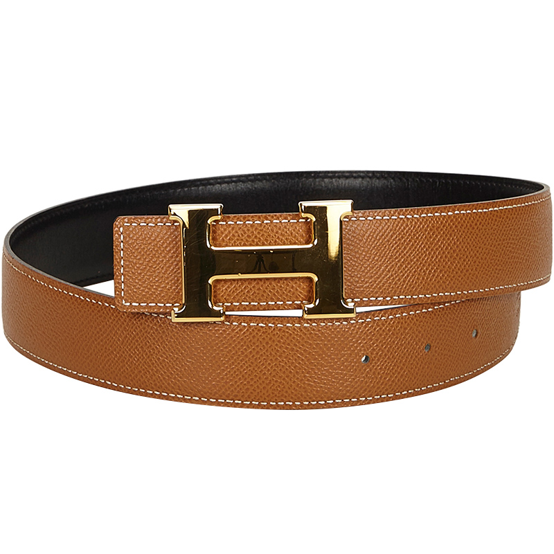 Hermes Brown H Logo Constance Belt.