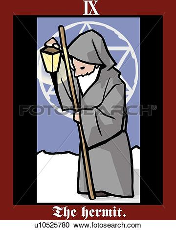 Stock Illustrations of The Hermit, tarot card, side view u10525780.