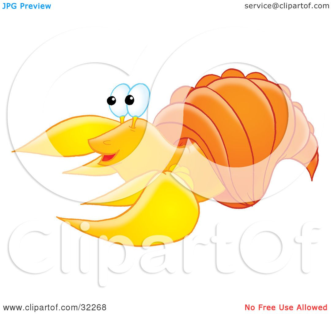 Clipart Illustration of a Cute Yellow Hermit Crab With An Orange.