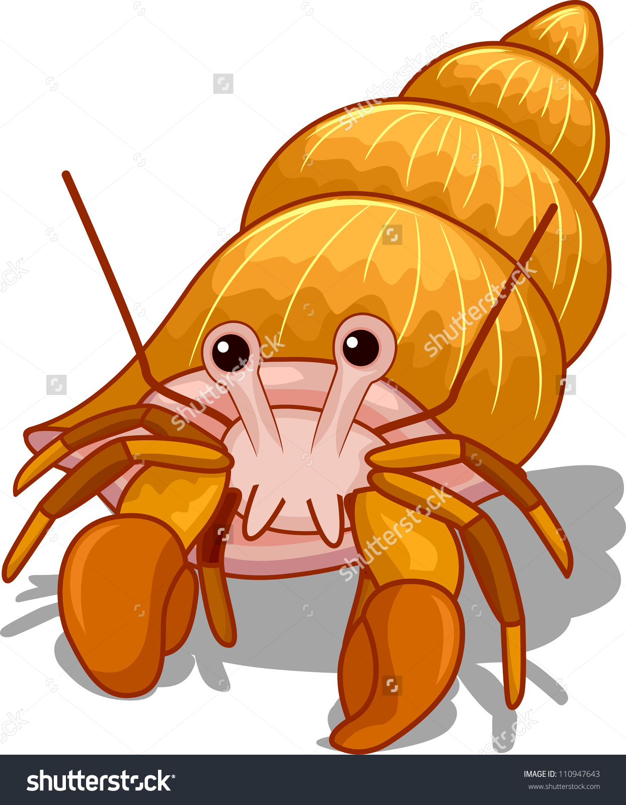 Illustration Golden Hermit Crab Head Exposed Stock Vector.