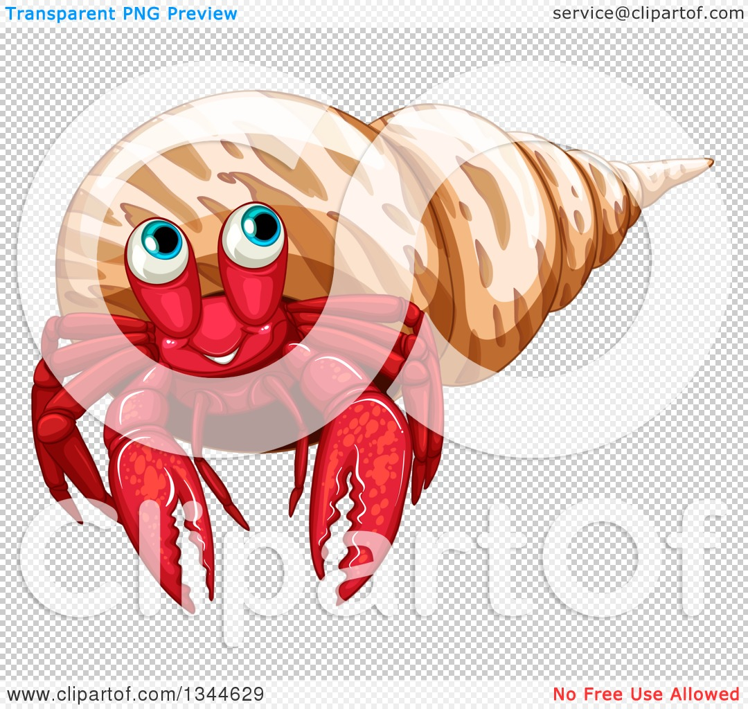 Clipart of a Happy Red Hermit Crab in a Brown Shell.