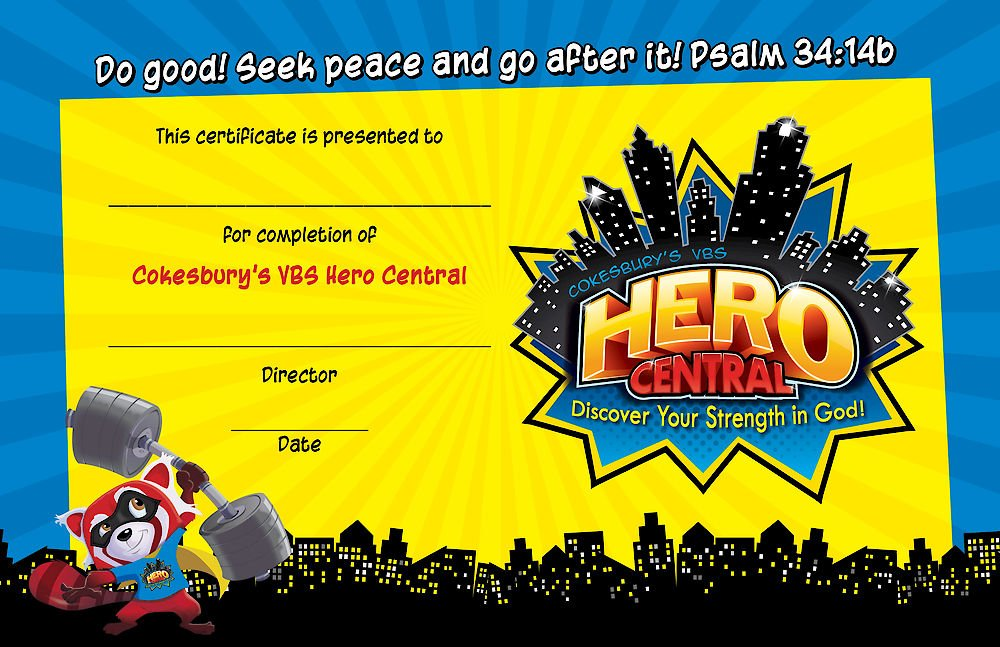 Vacation Bible School VBS Hero Central Student Certificates.