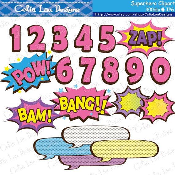 Supergirl clipart text, Super Hero Pop art Text Clipart 3.