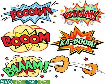 Comic Book Superheroes clipart Pop Art Text Props Speech Bubble Party hero  275s.