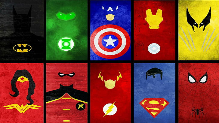 HD wallpaper: Superheroes collage, heroes logo, minimalistic.