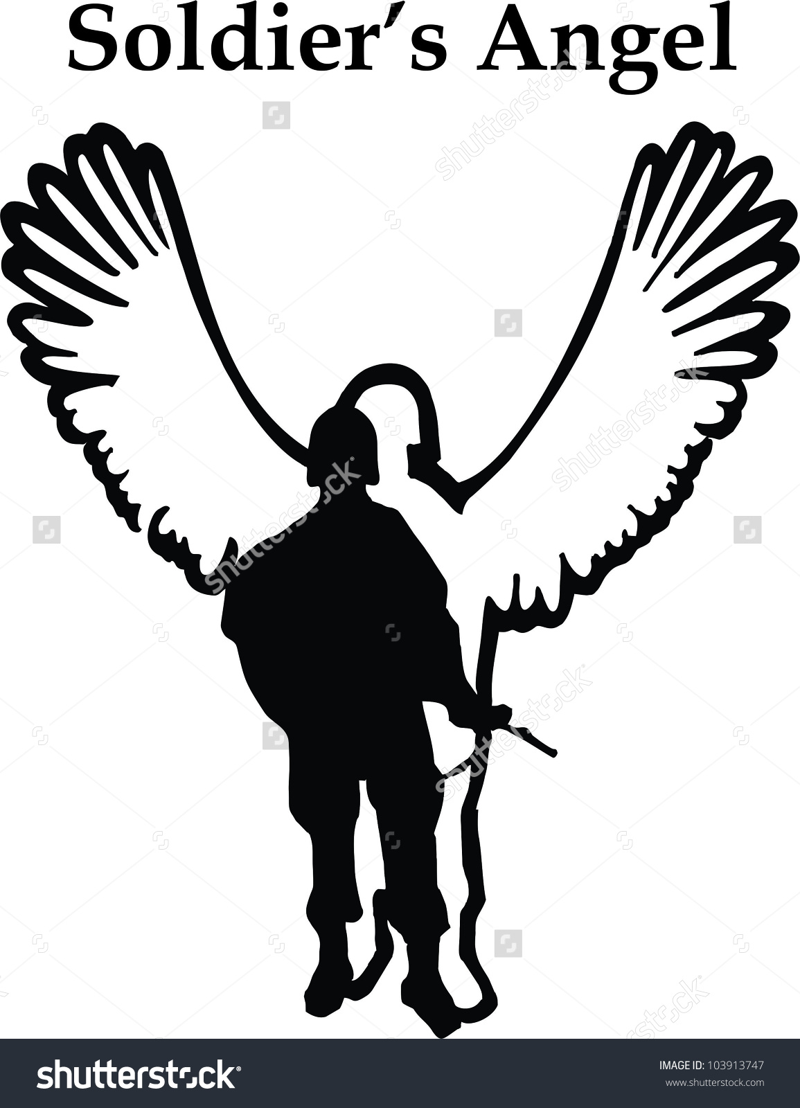 Soldiers Angel Fallen Hero Memorial Clip Stock Vector 103913747.