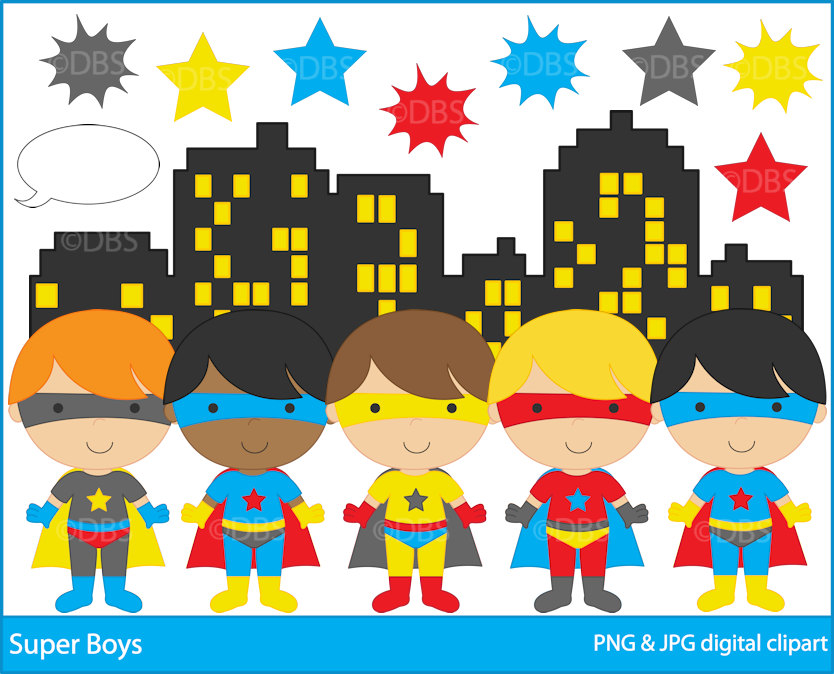 superhero clipart digital clip art super hero boys.