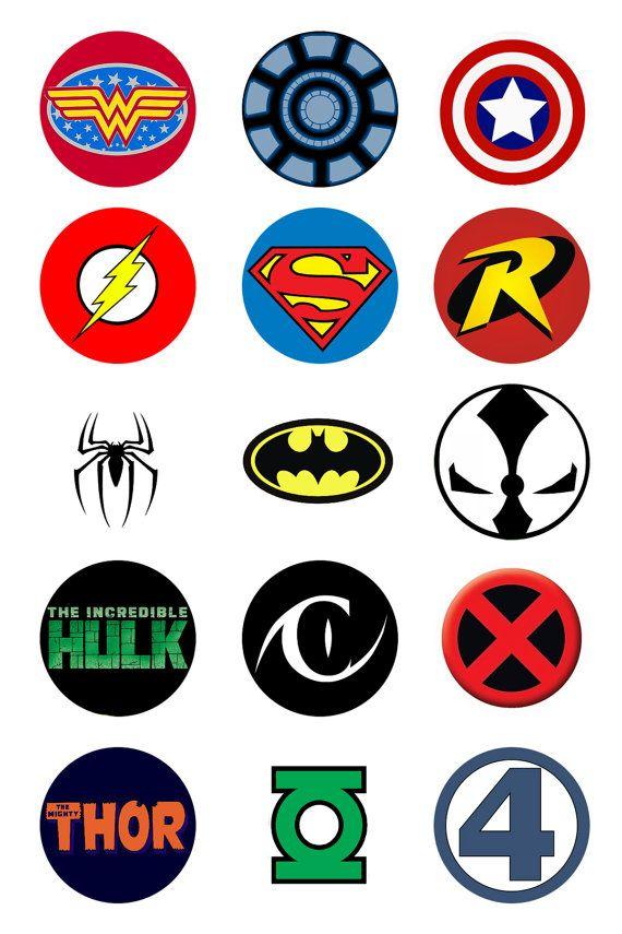Super Hero Logo Pinback Buttons 5 pk.