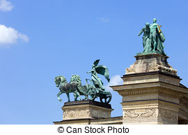 Pictures of Heroes' Square in Budapest.