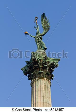 Picture of Archangel Gabriel statue from Heroes' Square, Budapest.