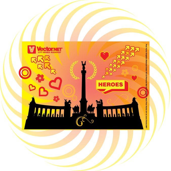 Budapest Heroes Square Monument, vector graphic.