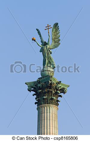 Stock Image of Archangel Gabriel statue from Heroes' Square.