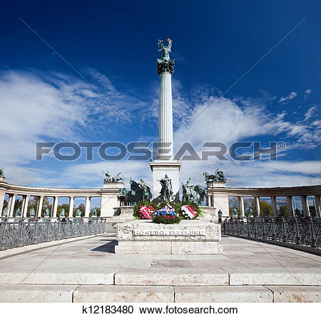Stock Photography of The Millennium Monument at Heroes' Square.