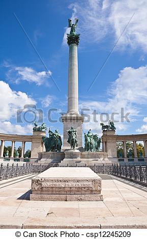 Stock Photography of heroes square in budapest, a square dedicated.
